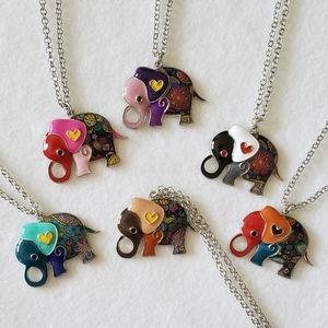 Enamel Elephant Necklace